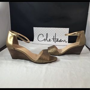 Cole Haan Matte gold weaved leather wedge sandal